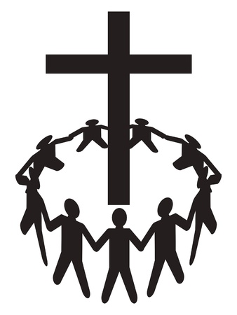 a group of people gathering around a cross Vector