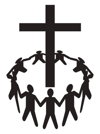 familia cristiana: un grupo de personas recogiendo alrededor de una cruz Vectores
