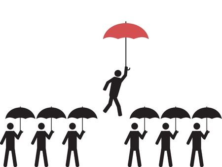 picking a person with red umbrella Stock Vector - 12776035