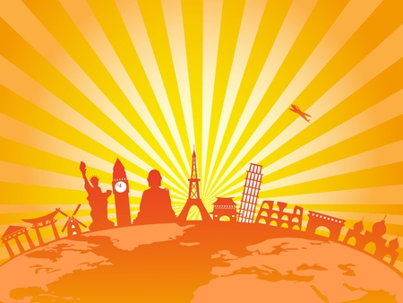 several world famous architectures on earth with golden sunburst background Illustration