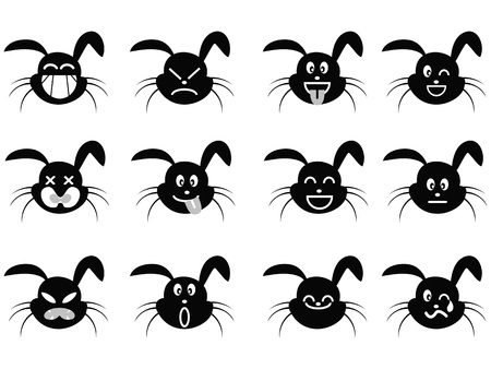 cute cartoon rabbit face icon with different facial expression Vector
