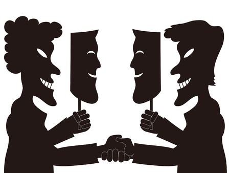 fake smile: two hypocrite businessmen holding fake masks each other Illustration