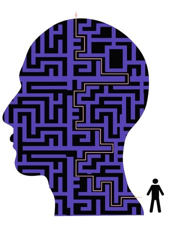 de achtergrond van menselijk hoofd doolhof