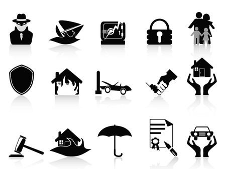 robo de autos: iconos aislados fijados en el fondo blanco