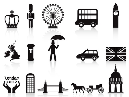 london bus: isolated london icons set on white background