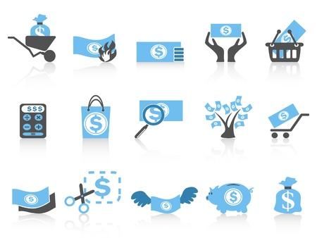 흰색 배경에서 격리 된 간단한 돈을 아이콘, 블루 시리즈 일러스트
