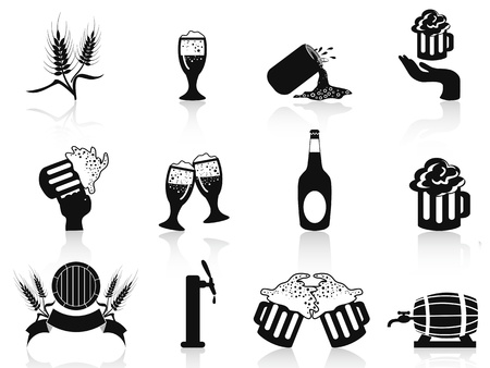 saúde: Isolado preto cerveja ícones conjunto no fundo branco Ilustração