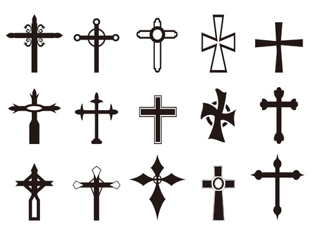 aislado cruz religiosa conjunto de símbolos de fondo blanco