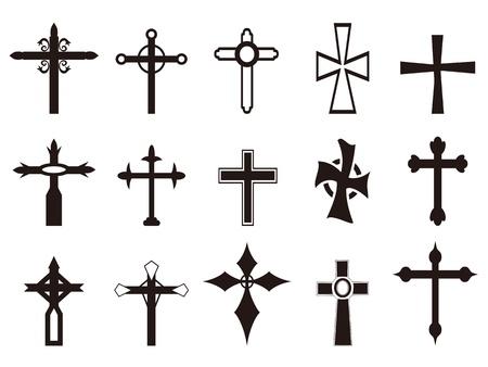 jesus on cross: isolato simbolo religioso set cross dalla sfondo bianco Vettoriali