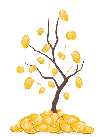 copper coin: the background of money falling from tree Illustration