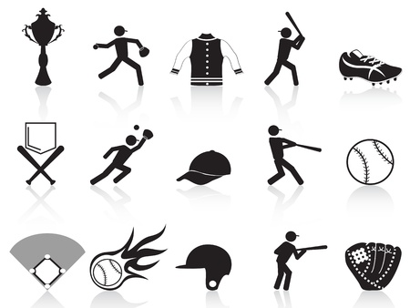 isolated black baseball icons set from white background Stock Vector - 13031645