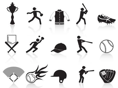 isolierte schwarze Baseball-Ikonen aus weißem Hintergrund