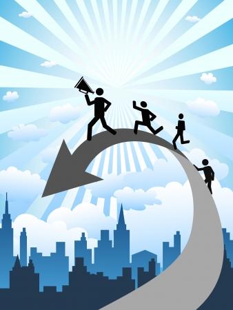 liderazgo empresarial: el fondo de concepto de negocio exitoso