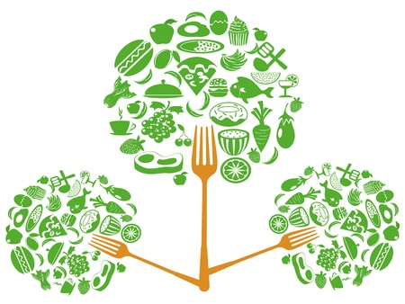 eco food fork tree for food background Vector