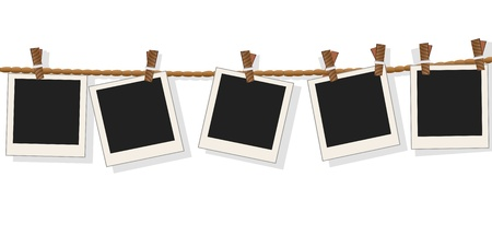 isolated Blank photo frames on line on white background with shadow Vector