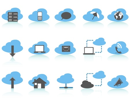 isolated simple cloud computing icons set,blue series on white background Vector
