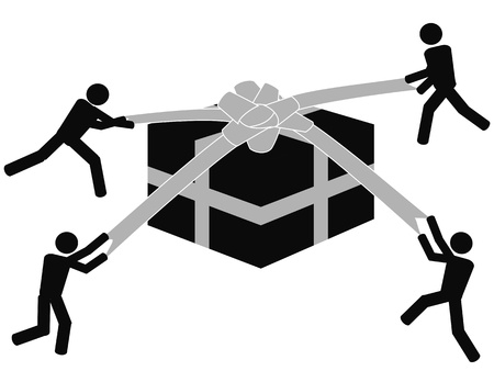 some symbol people unpacking the gift box on white background Vector