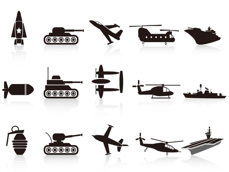 isolated black war weapon icons set on white background Ilustrace