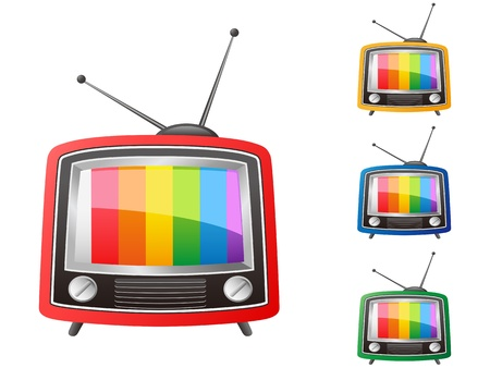 TV a color aislado retro sobre fondo blanco