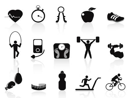 hombre levantando pesas: iconos negros aislados aptitud establecidas en el fondo blanco