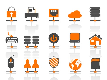 data center: isolated network connection icons set on white background