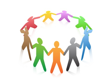 a group of colored people around in a circle Vector