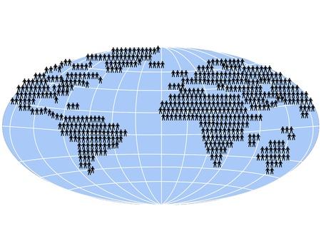 población: un gran grupo de personas de pie en el mapa mundial