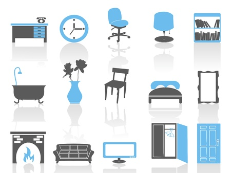 isolated simple interior furniture icons set in blue series on white background Vector