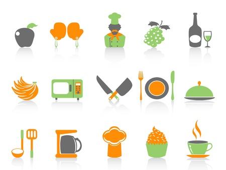 geïsoleerde eenvoudige kleur keuken pictogrammen instellen op een witte achtergrond Vector Illustratie