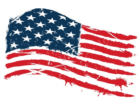 grunge background of curved usa flag Vector