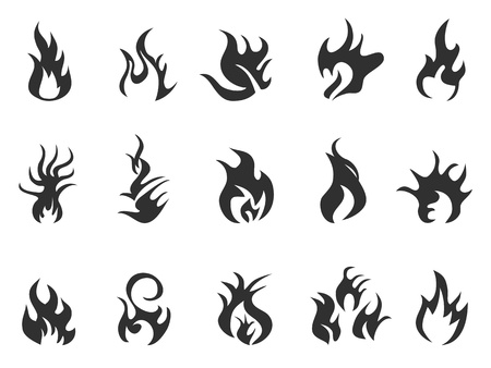 abstract black flame icon on white background