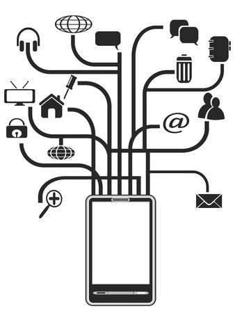 agenda electr�nica: iconos del �rbol negro que crece de PDA