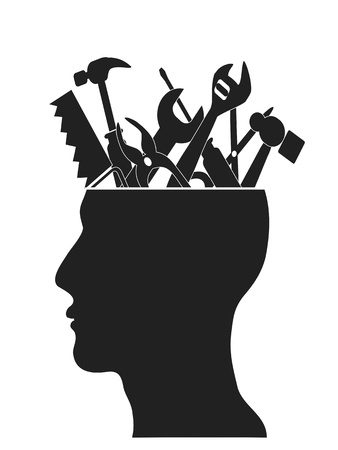 some Hand tools put in the human head Stock Vector - 13273828