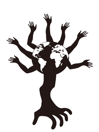 human hands as the tree growing from the globe Vector