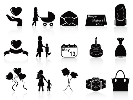 isolated happy mothers day icons set from white background Vector