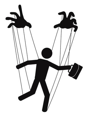 marioneta de madera: manos controlar un t�tere de negocios