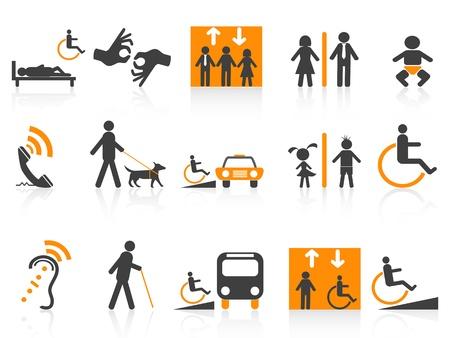 Icone di accessibilità stabiliti isolati su sfondo bianco Vettoriali