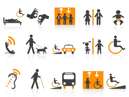 dog wheelchair: isolated Accessibility icons set on white background