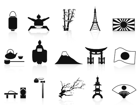 japanese flag: isolated black japanese icons from white background