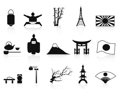 isol�s noirs ic�nes japonais de fond blanc