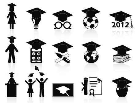 aislados iconos negros de graduación establecidos en el fondo blanco