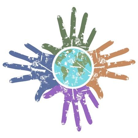 paz mundial: un fondo sucio de las manos alrededor de la Tierra