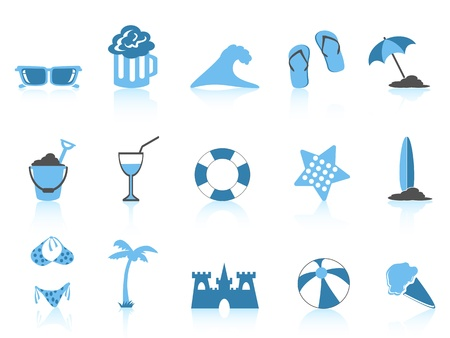 isolated simple blue beach icons on white background Vector