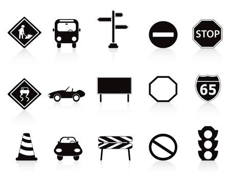 parada de autobus: aislados en blanco iconos de las señas de circulación establecidas en el fondo blanco Vectores