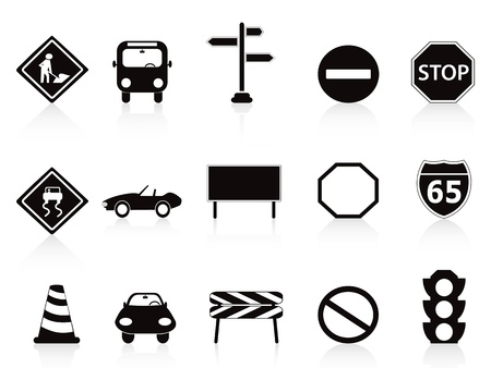 with stop sign: isolated black traffic sign icons set on white background