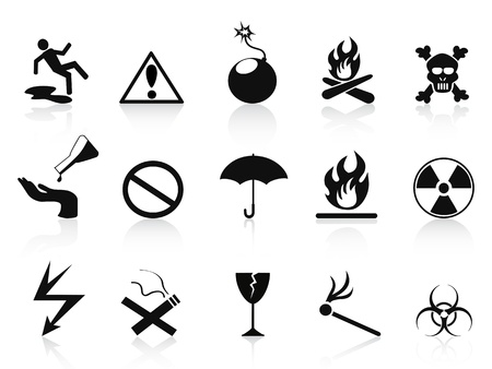 wet floor caution sign: aislados iconos de advertencia negras establecidas en el fondo blanco