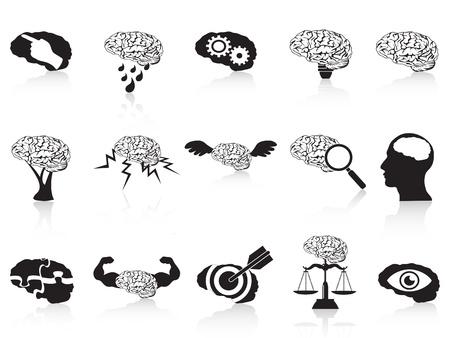 target thinking: iconos aislados del cerebro conceptuales establecidos en el fondo blanco