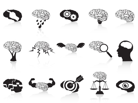 isolated brain conceptual icons set from white background Vector