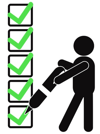 a black symbol people holding pen to sign check mark on checklist