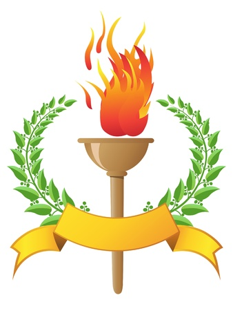 the design of flame torch with banner  Vector